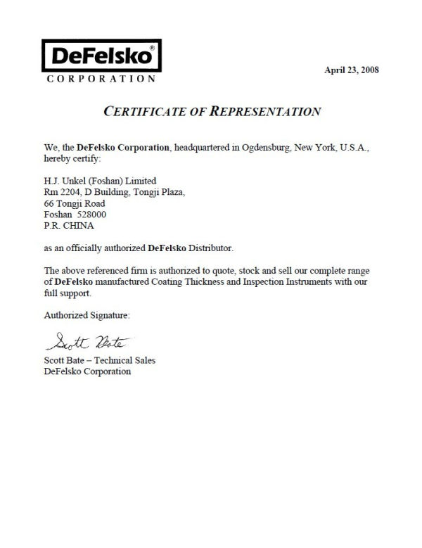Defelsko授权证书