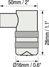 Defelsko PosiTector 6000系列涂層測厚儀分體式90°常規探頭尺寸圖