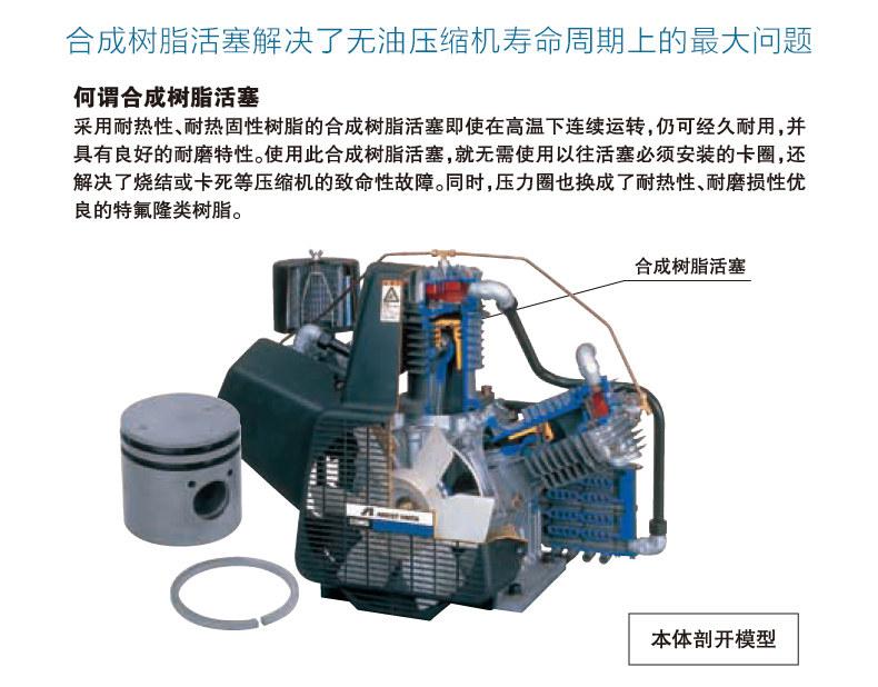 合成树脂活塞能解决岩田TFPJ22-10无油活塞式空气压缩机的寿命问题