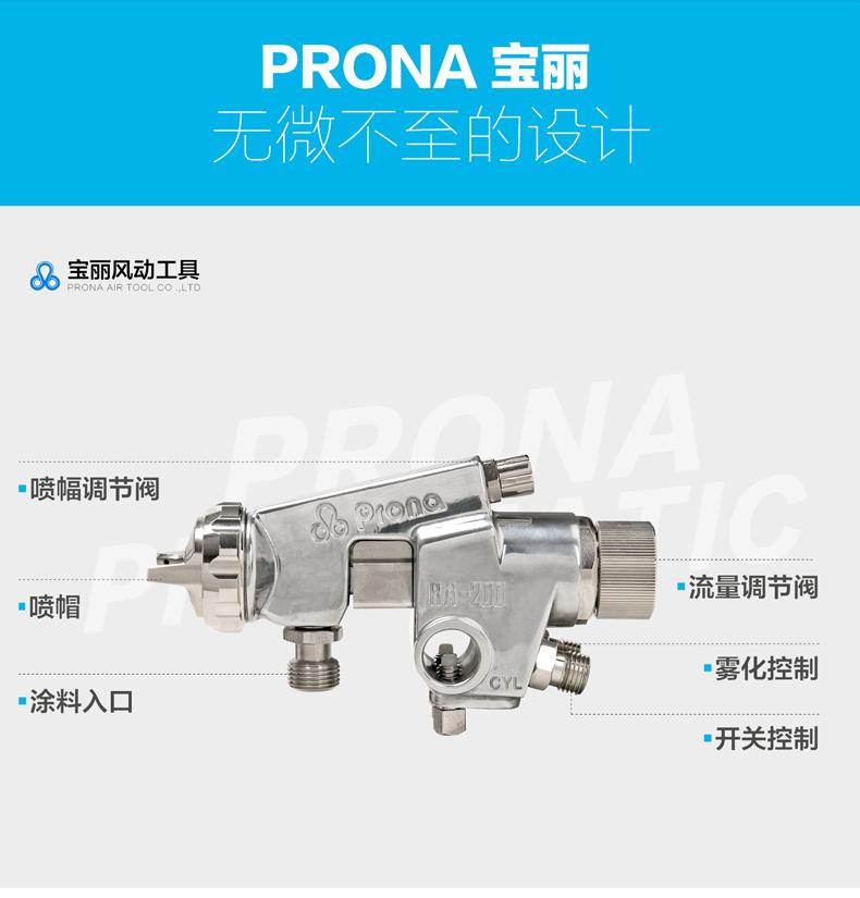 宝丽RA-200-P15水性油漆喷枪结构图